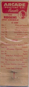 Arcade/Blank Pontiac 1950 Redskins Schedule Matchbook Back