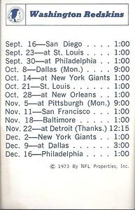 1973 NFLP Redskins Schedule