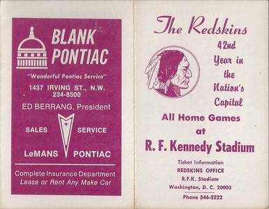 1978 Blank Pontiac Redskins Schedule