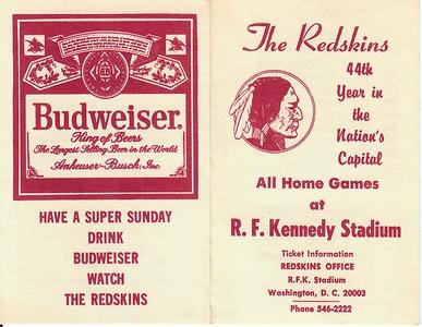 1980 Budweiser Redskins Schedule