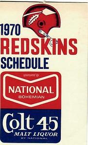 National Boh 1970 Redskins Schedule