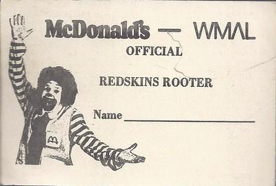 1973 McDonald's WMAL Redskins Rooter Schedule