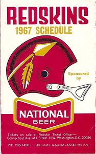 1967 National Beer Redskins Schedule