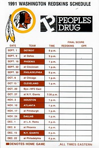 1991 People's Drug Redskins Magnet Schedule