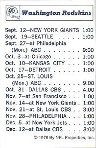 1976 NFLP Redskins Schedule