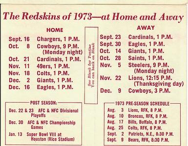 Blank Pontiac 1973 Redskins Schedule