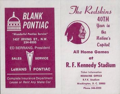 1976 Blank Pontiac Redskins Schedule