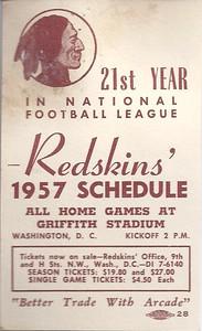 1957 Arcade Pontiac Redskins Schedule