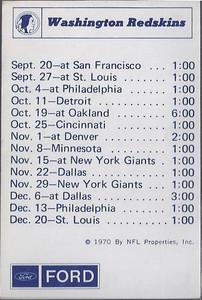 1970 NFLP Ford Redskins Schedule