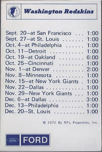 1970 NFLP Ford Redskins Schedule