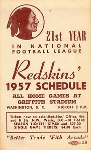Arcade Pontiac 1957 Redskins Schedule