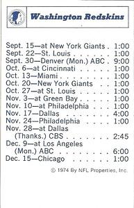 1974 NFLP Redskins Schedule