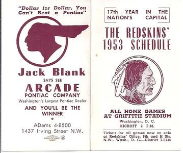 1953 Blank Pontiac Redskins Schedule