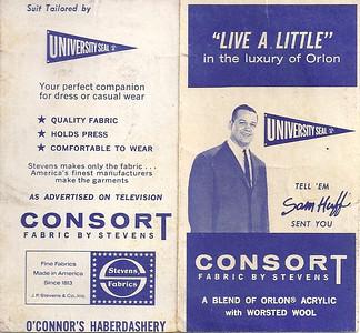 1966 Consort Sam Huff NFL Schedule