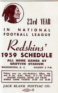 Blank Pontiac 1959 Redskins Schedule