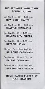 1976 Hecht's Redskins Schedule