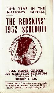 Arcade Pontiac 1952 Redskins Schedule