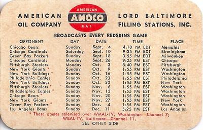 1949 Amoco Redskins Schedule