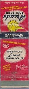 Arcade/Blank Pontiac 1950 Redskins Schedule Matchbook Front