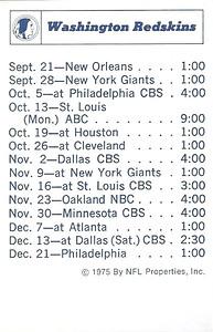 1975 NFLP Redskins Schedule