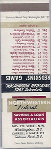 1961 NW Federal S&L Redskins Matchbook Schedule