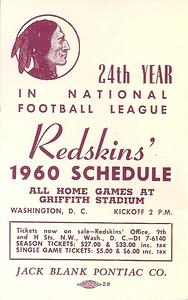 1960 Blank Pontiac Redskins Schedule