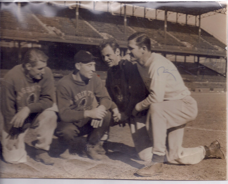 1940s Press Photo Turk Edwards, Ray Flaherty, ?, and Sammy Baugh