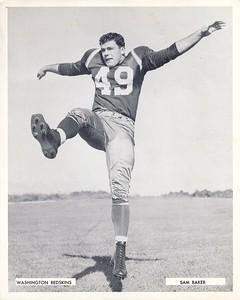 Sam Baker 1957 Redskins Team Issue Photo