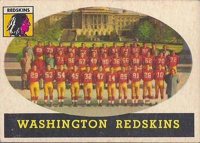Redskins Team Card 1958 Topps