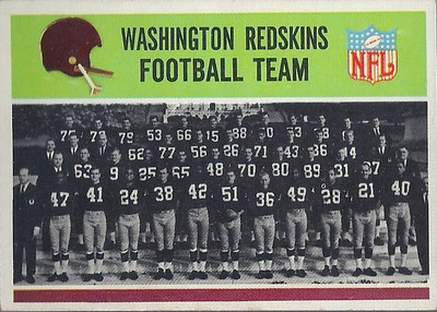 Redskins Team Card 1965 Philadelphia