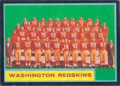Redskins Team Card 1962 Topps