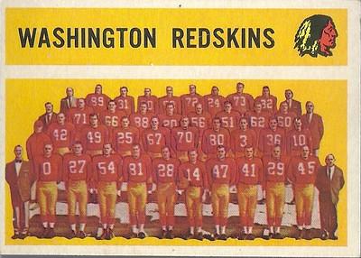 Redskins Team Card 1960 Topps