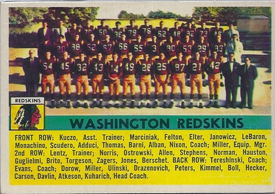 Redskins Team Card 1956 Topps