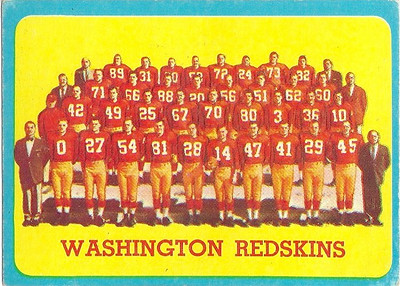 Redskins Team Card 1963 Topps