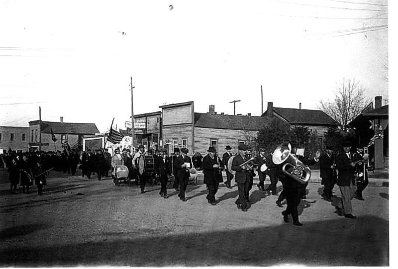 Band on Mill ST 1918 - photo is the parade that was held on armistice day 1918 to celebrate the ending of WW I.