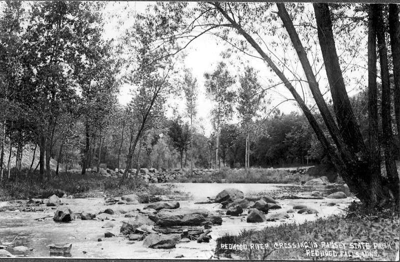 Ramsey Park Redwood River Crossing 1913 - These photo's are of the first crossing on the Redwood river in Ramsey park.  They would have been taken in 1912-13 as volunteers led by Joe Tyson were developing the road system in the park.  The crossing was located up river from the present swayback bridge.