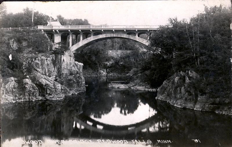 Old Bridge and Reflection -  first concrete bridge over the dalles of the Redwood.