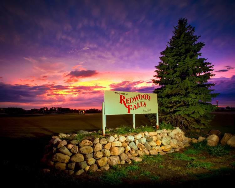 Redwood Falls Sign Sunset-73