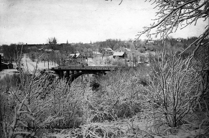 winter bridge and town view