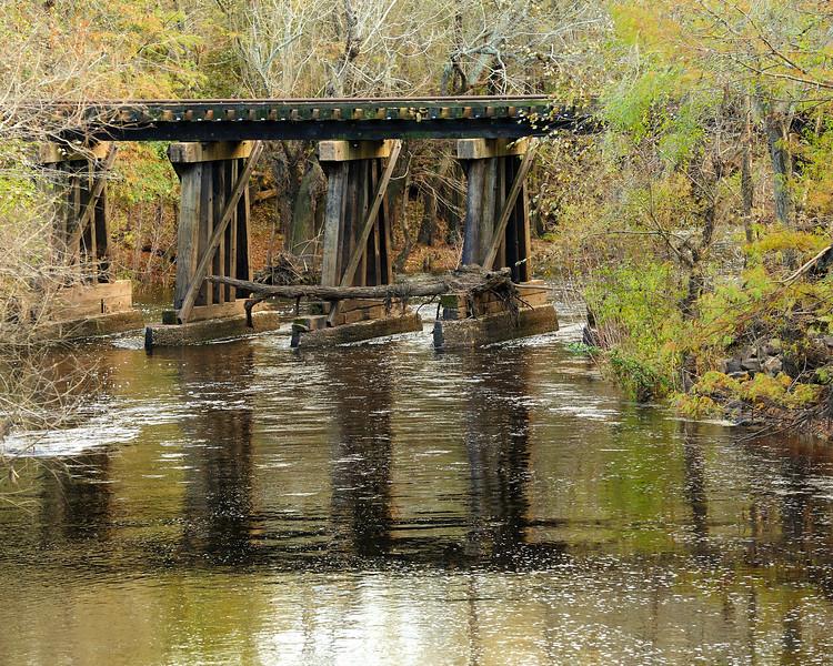 Train trestle near Reed Bingham State Park