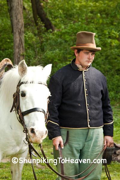 Civil War Camp Reenactor with Horse, Springfield, Illinois
