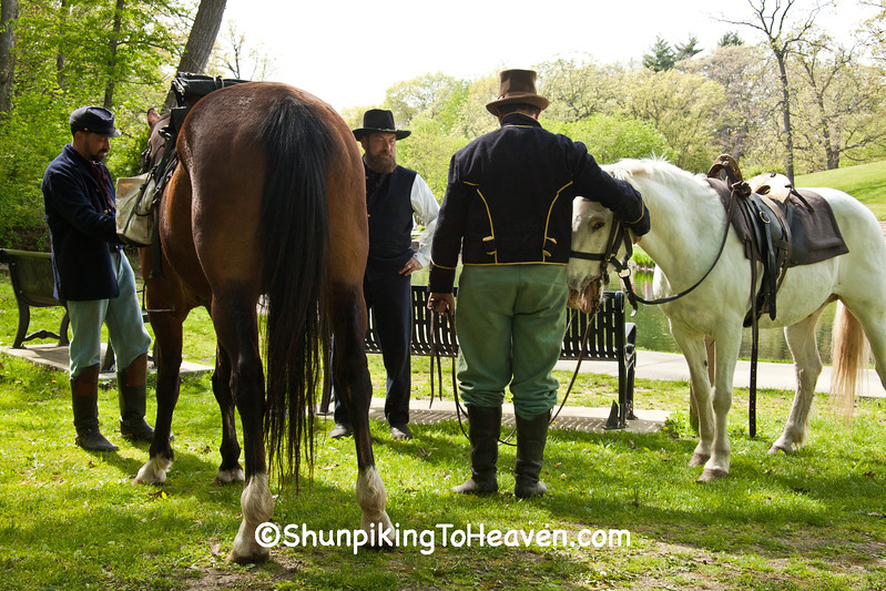 Civil War Camp Reenactors with Horses, Springfield, Illinois