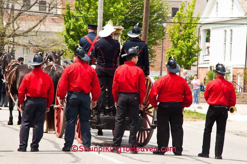 Firefighters Behind Vintage 1891 Fire Engine Pumper, Springfield, Illinois