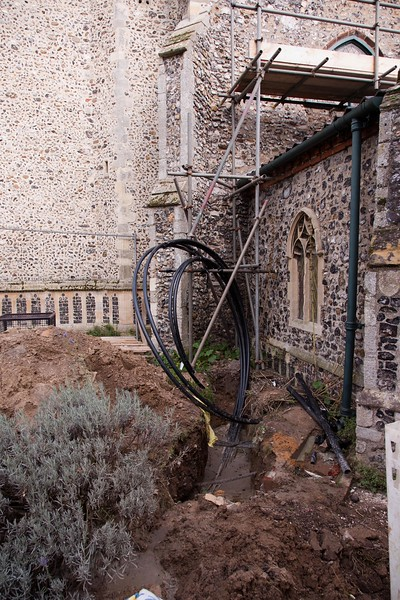 The pipes leading from the 3 deep bores into the building and these were subsequently concealed by a small structure.