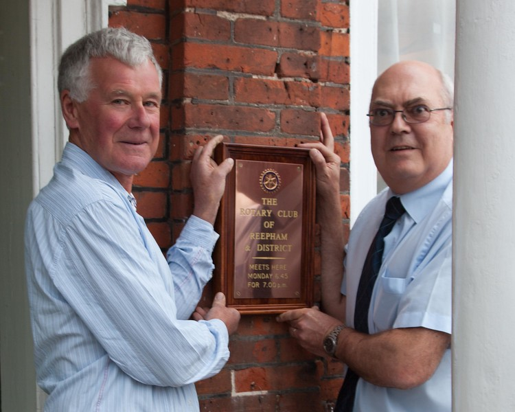 President Robert with founder member Paul Smith showing where the plaque has been for many years