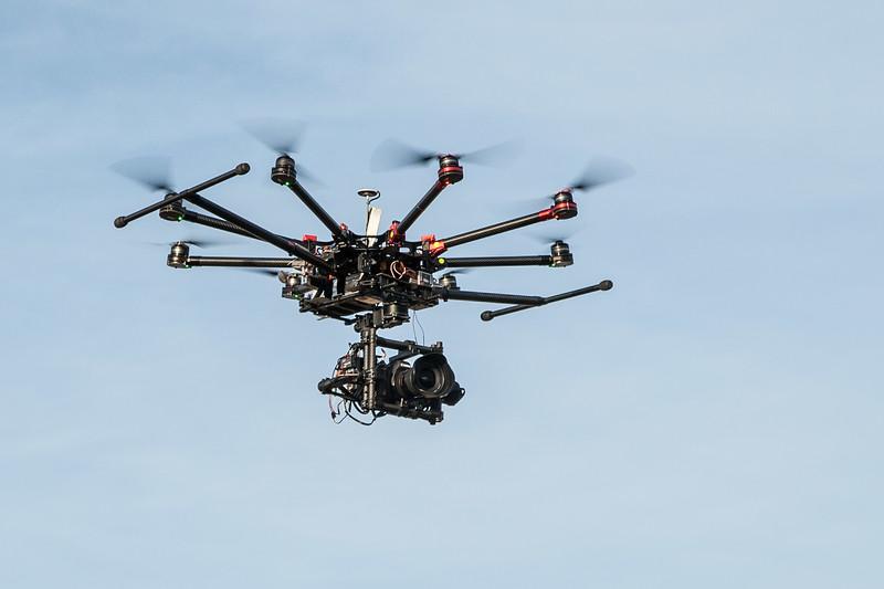 Drone in flight with landing gear up