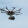 Drone in flight with landing gear up