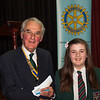 Lilly Dollman receiving her 3rd place cheque from President Andrew