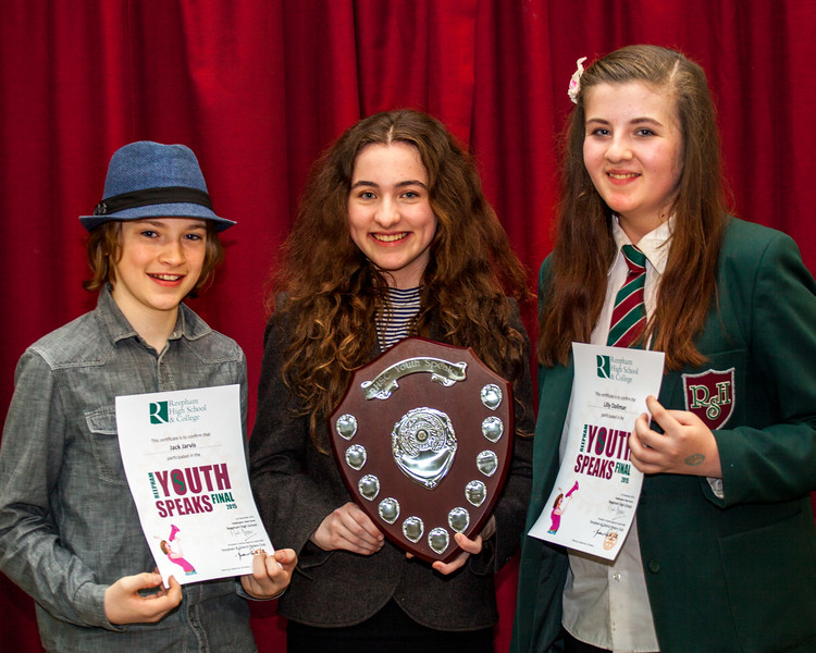The Winners! Evie Moss (centre), Jack Jarvis (2nd) and Lilly Dollman (3rd)