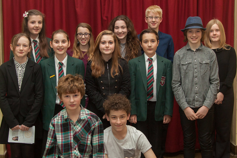 Ten finalists and the comperes Angus Weston (fron left) and Alfie Moss (front right)